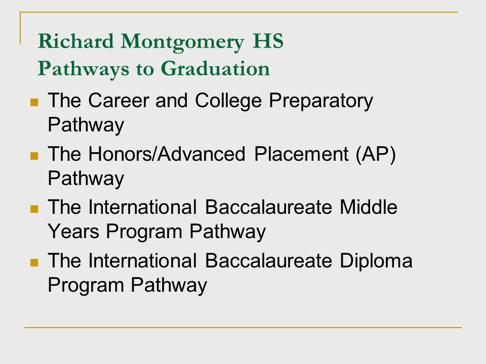 Richard Montgomery HS Pathways to Graduation The Career and College Preparatory Pathway The Honors/Advanced Placement (AP) Pathway The International B
