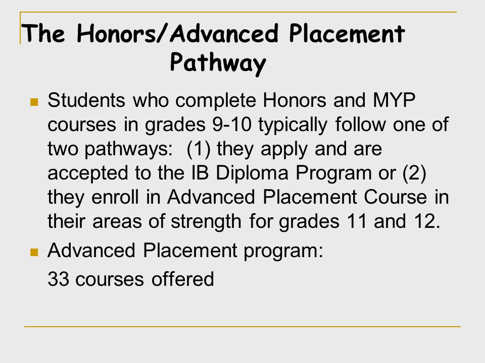 Students who complete Honors and MYP courses in grades 9-10 typically follow one of two pathways: (1) they apply and are accepted to the IB Diploma Pr