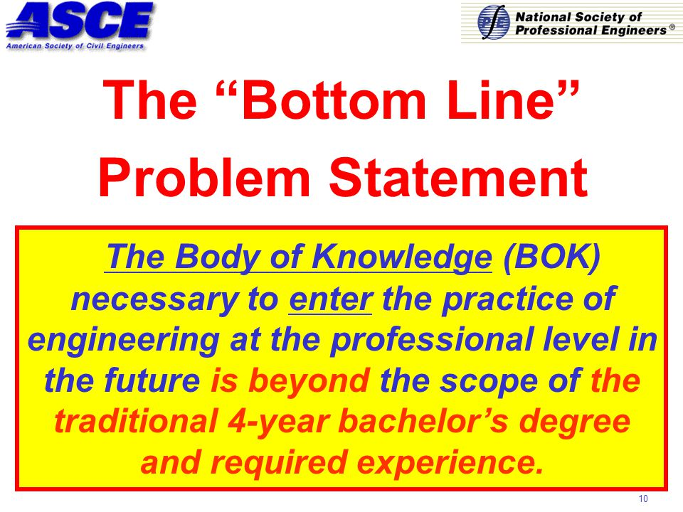 10 The Body of Knowledge (BOK) necessary to enter the practice of engineering at the professional level in the future is beyond the scope of the traditional 4-year bachelor's degree and required experience.