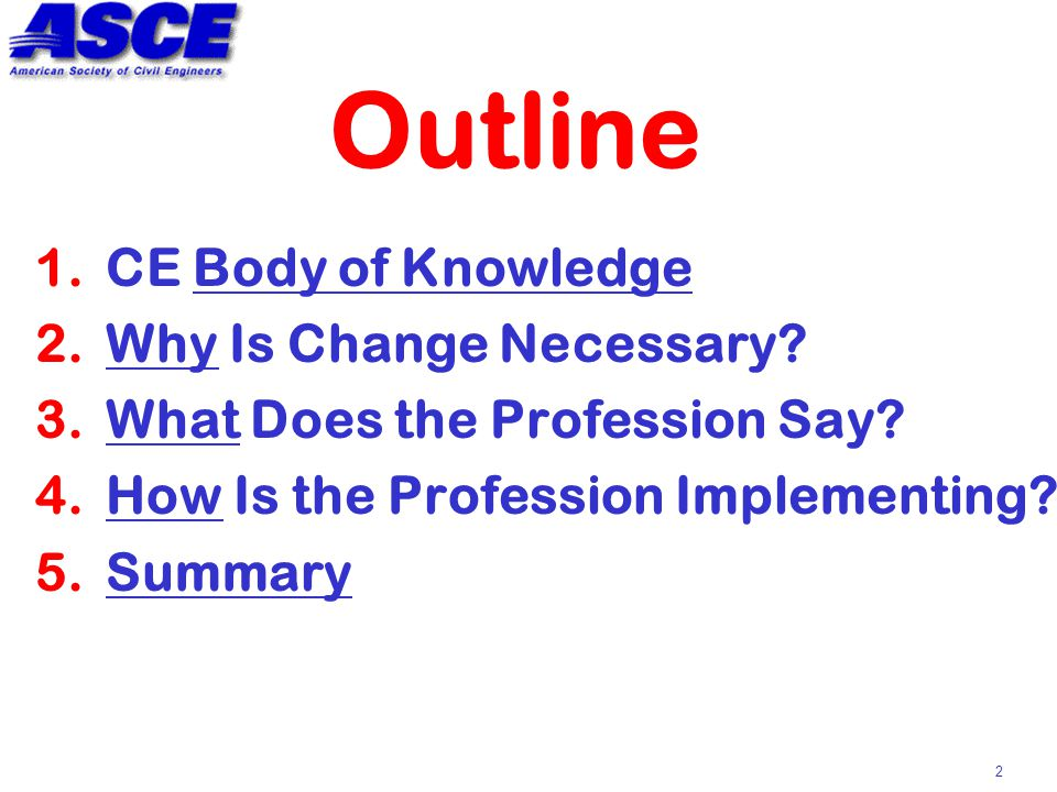 2 Outline 1.CE Body of Knowledge 2.Why Is Change Necessary.