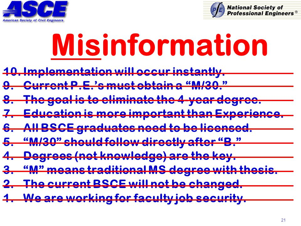21 Misinformation 10.Implementation will occur instantly.