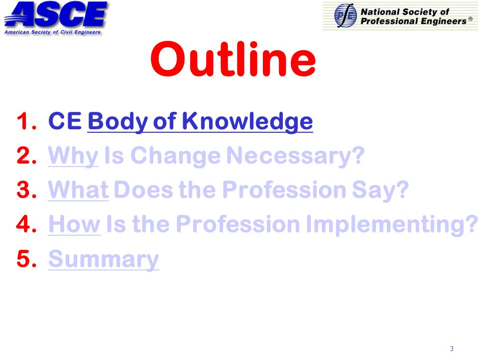 3 Outline 1.CE Body of Knowledge 2.Why Is Change Necessary.