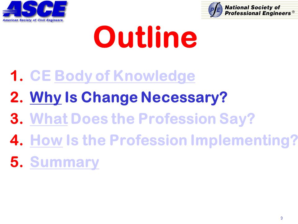 9 Outline 1.CE Body of Knowledge 2.Why Is Change Necessary.