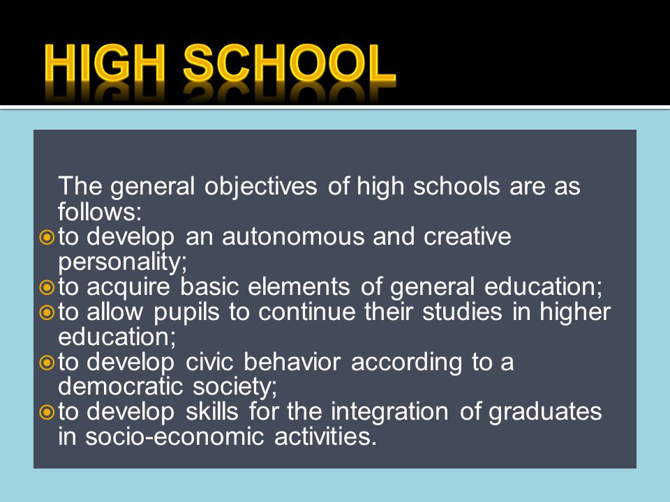 o There are five types of high schools in Romania allowing access to university, based on the type of education offered and their academic performance.