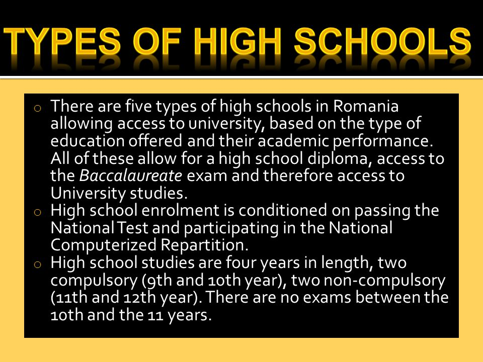  Each type of high-school is free to offer one or more academic programs (profile).