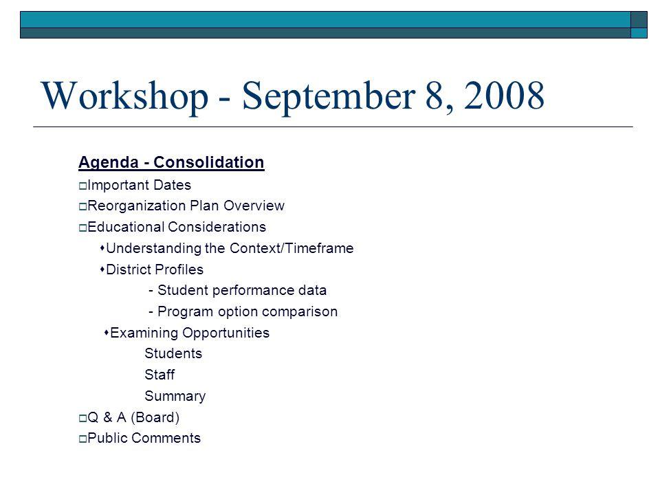 Reorganization Plan Overview  Transition Timetable Nov.