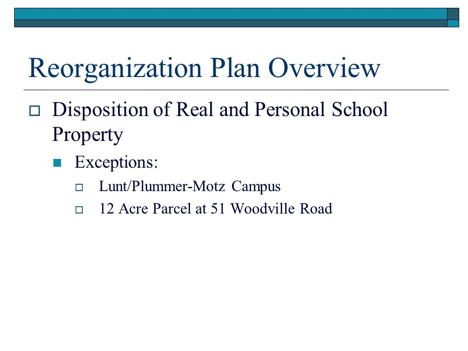 Reorganization Plan Overview  Election of Initial Board of Directors  Tuition Contracts and School Choice  Claims/Insurance  Vote to Submit Reorganization Plan Amendments  Comprehensive Plan Review