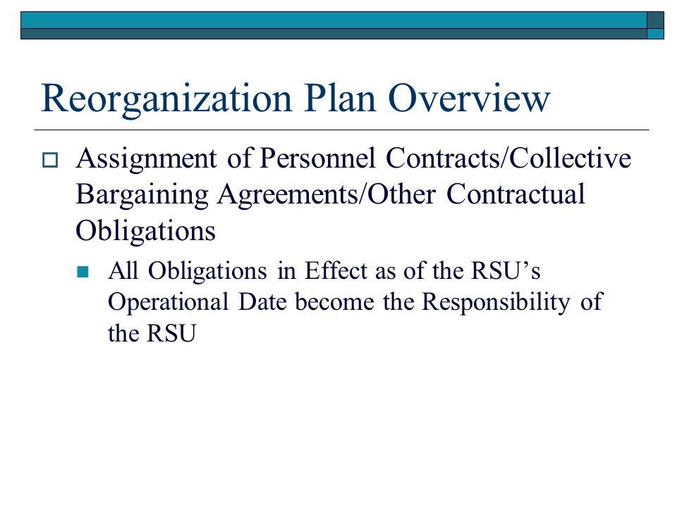Reorganization Plan Overview  Assignment of Personnel Contracts/Collective Bargaining Agreements/Other Contractual Obligations All Obligations in Effect as of the RSU's Operational Date become the Responsibility of the RSU