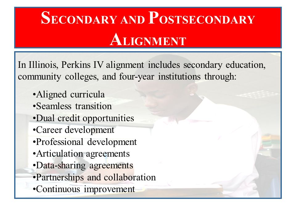 S ECONDARY AND P OSTSECONDARY A LIGNMENT In Illinois, Perkins IV alignment includes secondary education, community colleges, and four-year institution