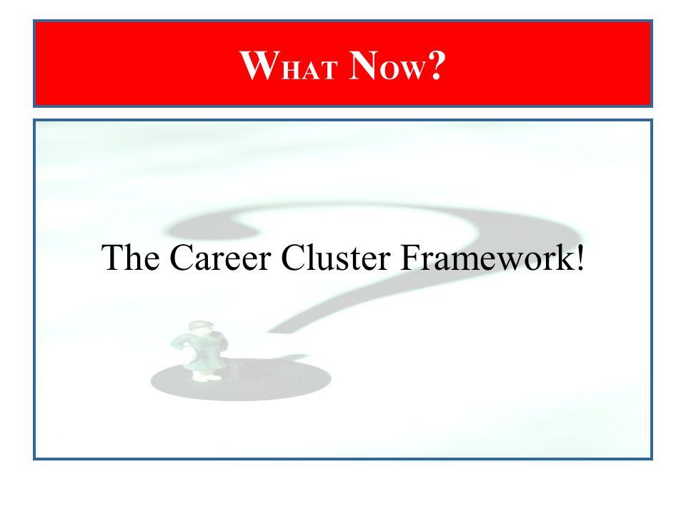 W HAT N OW ? The Career Cluster Framework!