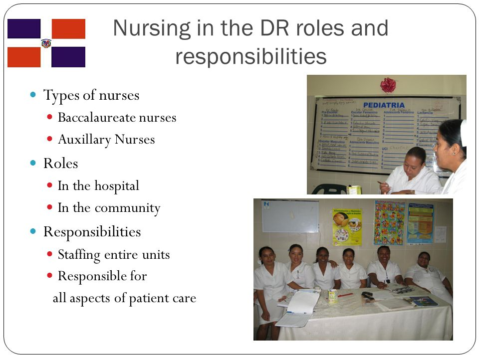 Nursing in the DR roles and responsibilities Types of nurses Baccalaureate nurses Auxillary Nurses Roles In the hospital In the community Responsibilities Staffing entire units Responsible for all aspects of patient care
