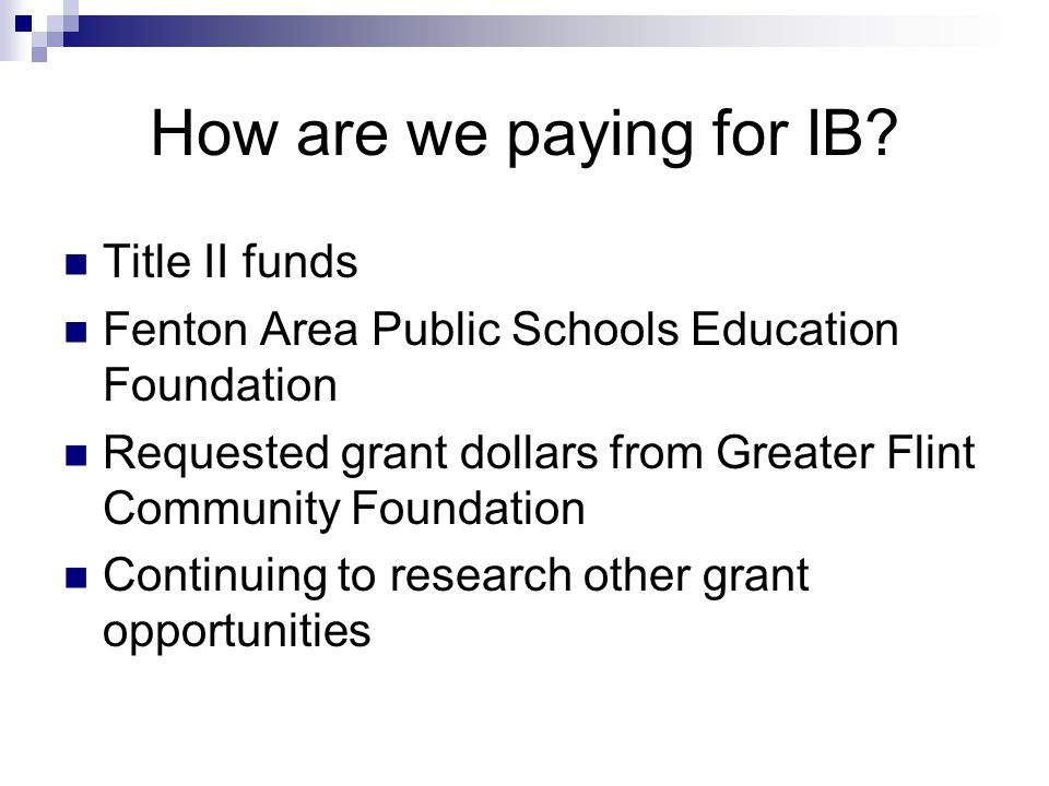 How are we paying for IB.