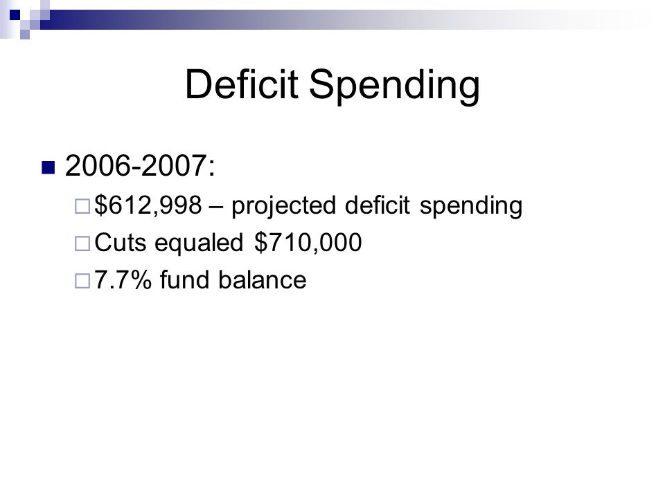 Deficit Spending 2006-2007:  $612,998 – projected deficit spending  Cuts equaled $710,000  7.7% fund balance