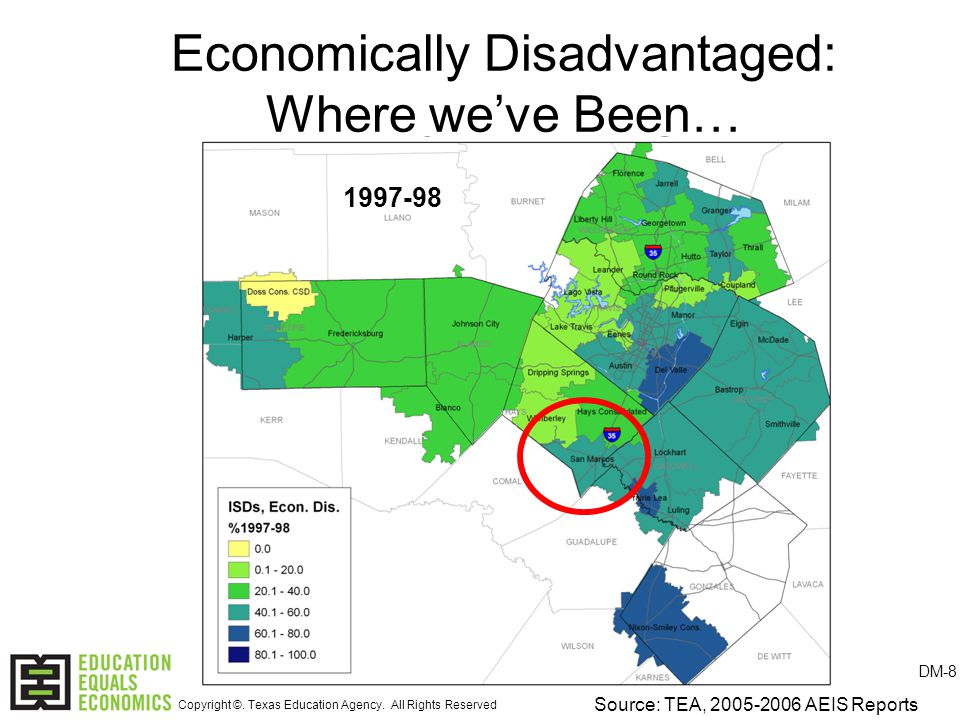 Economically Disadvantaged: Where we've Been… Source: TEA, 2005-2006 AEIS Reports 1997-98 DM-8 Copyright ©.