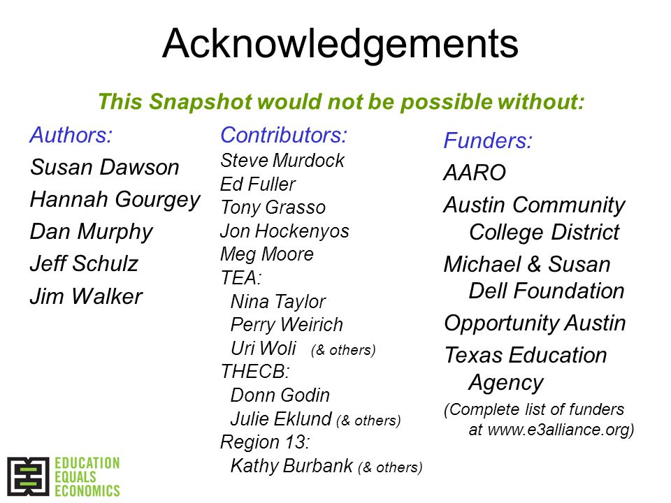 Acknowledgements Authors: Susan Dawson Hannah Gourgey Dan Murphy Jeff Schulz Jim Walker This Snapshot would not be possible without: Contributors: Steve Murdock Ed Fuller Tony Grasso Jon Hockenyos Meg Moore TEA: Nina Taylor Perry Weirich Uri Woli (& others) THECB: Donn Godin Julie Eklund (& others) Region 13: Kathy Burbank (& others) Funders: AARO Austin Community College District Michael & Susan Dell Foundation Opportunity Austin Texas Education Agency (Complete list of funders at www.e3alliance.org)