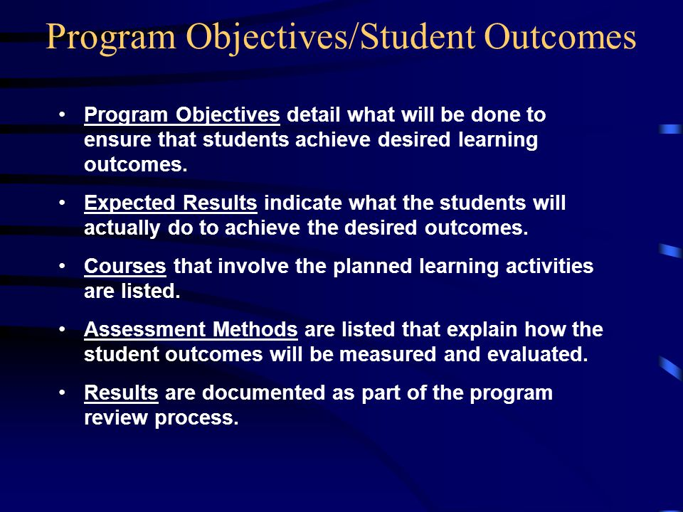 Program Objectives detail what will be done to ensure that students achieve desired learning outcomes.