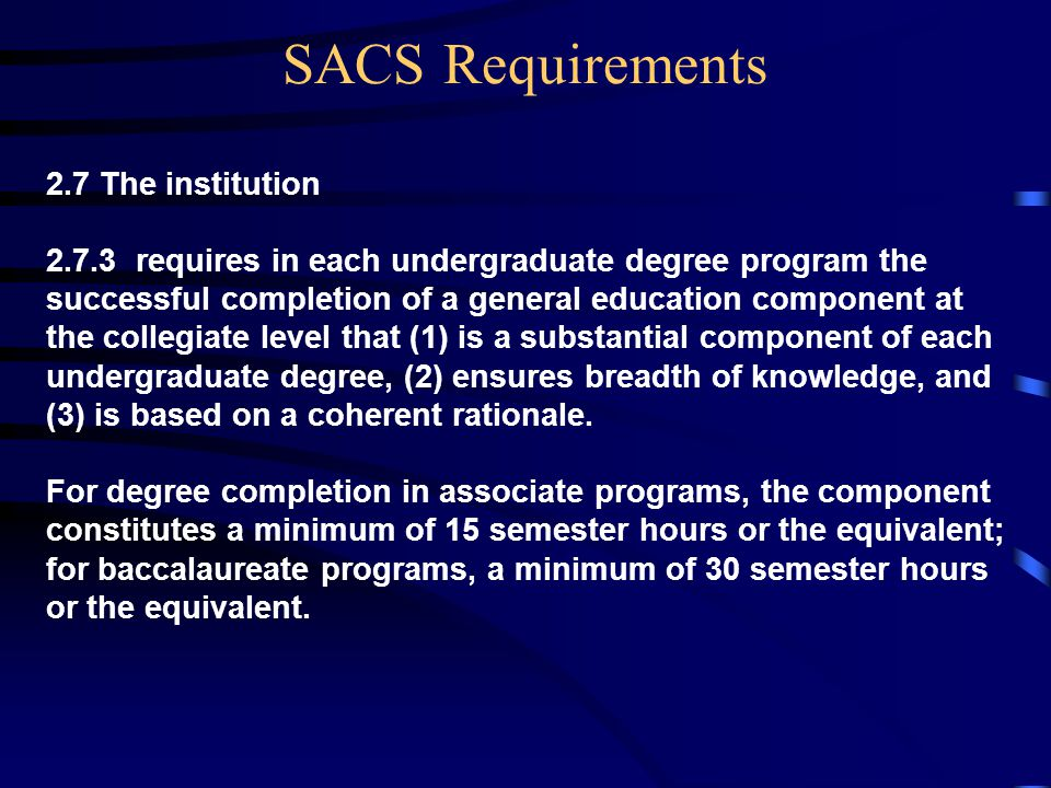2.7 The institution 2.7.3 requires in each undergraduate degree program the successful completion of a general education component at the collegiate level that (1) is a substantial component of each undergraduate degree, (2) ensures breadth of knowledge, and (3) is based on a coherent rationale.