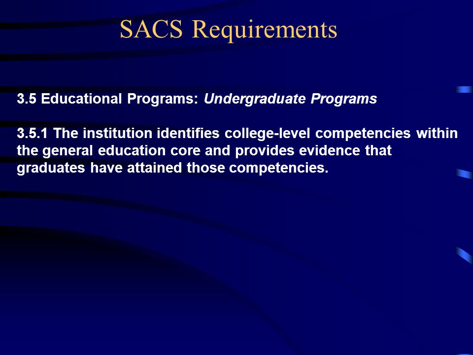 3.5 Educational Programs: Undergraduate Programs The institution identifies college-level competencies within the general education core and provides evidence that graduates have attained those competencies.