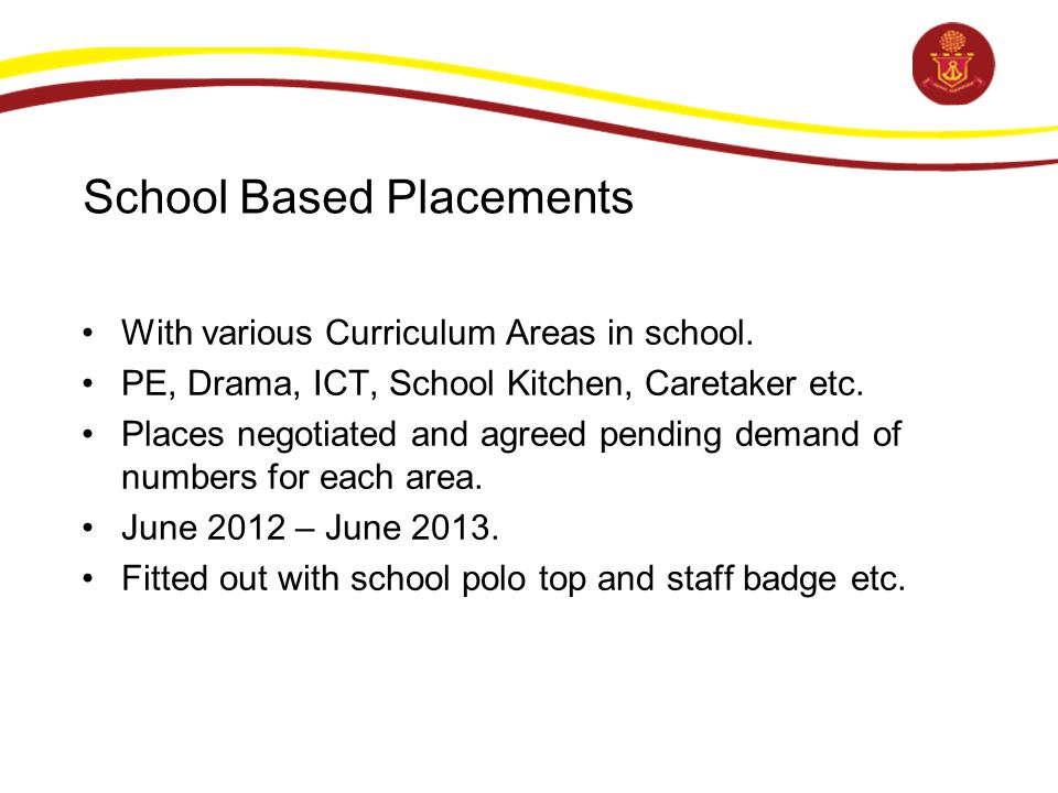 School Based Placements With various Curriculum Areas in school.