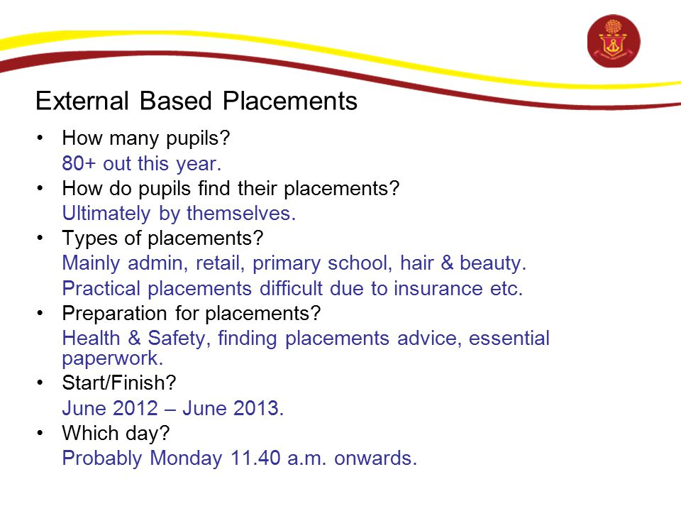 External Based Placements How many pupils? 80+ out this year. How do pupils find their placements? Ultimately by themselves. Types of placements? Main