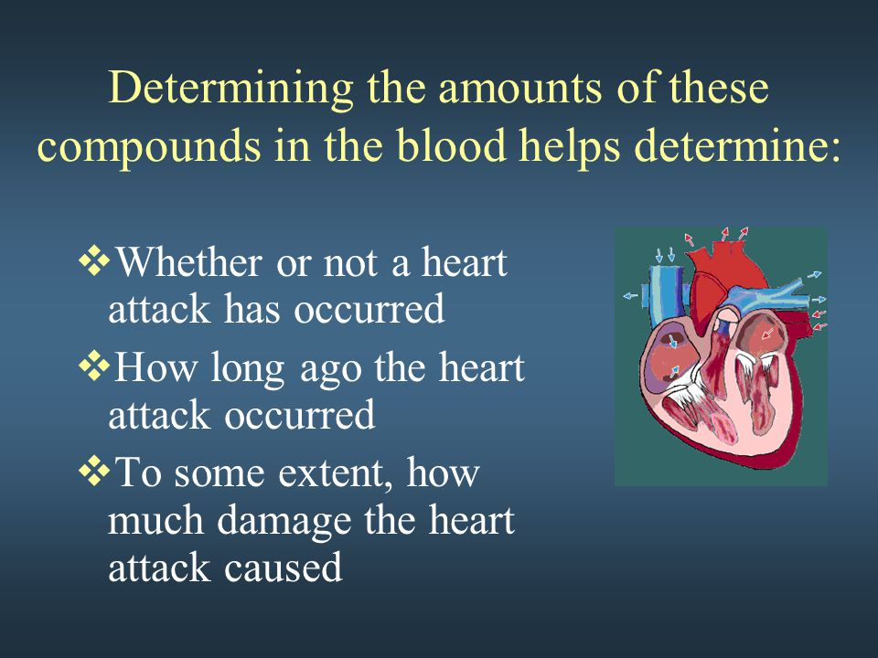 Determining the amounts of these compounds in the blood helps determine:  Whether or not a heart attack has occurred  How long ago the heart attack occurred  To some extent, how much damage the heart attack caused
