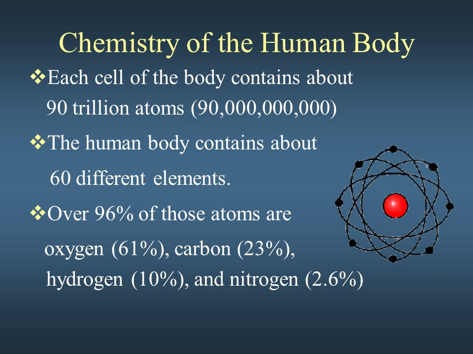 Chemistry of the Human Body  Each cell of the body contains about 90 trillion atoms (90,000,000,000)  The human body contains about 60 different elements.