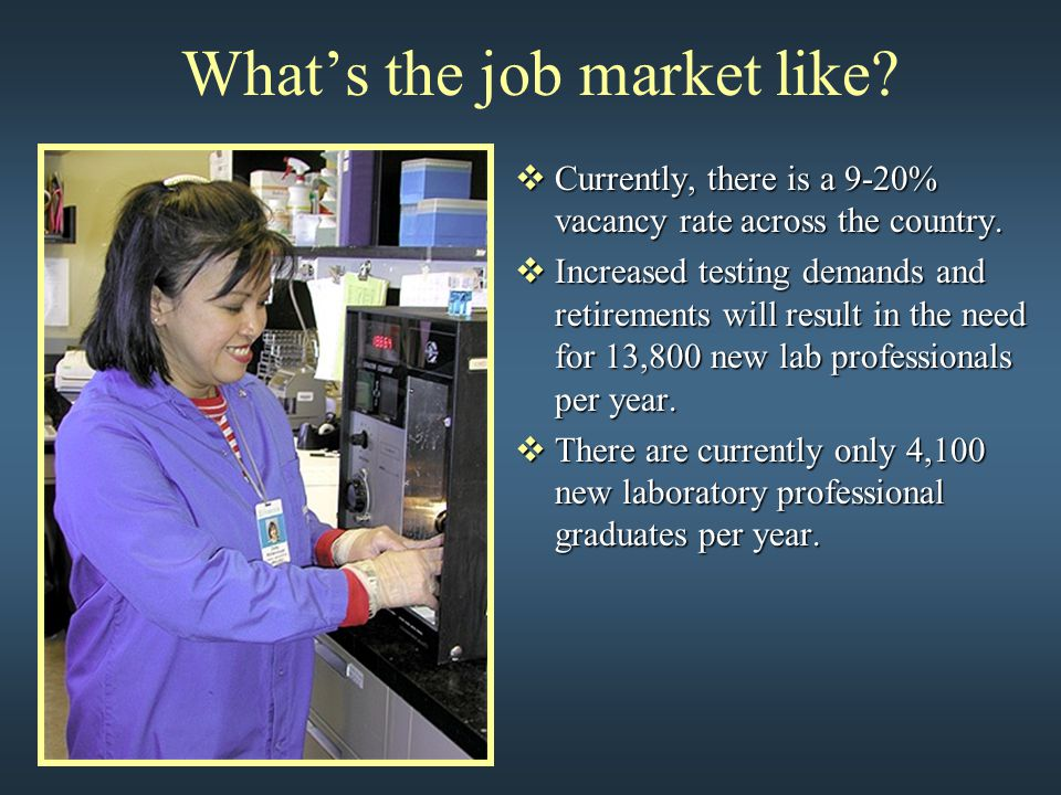 What's the job market like?  Currently, there is a 9-20% vacancy rate across the country.  Increased testing demands and retirements will result in