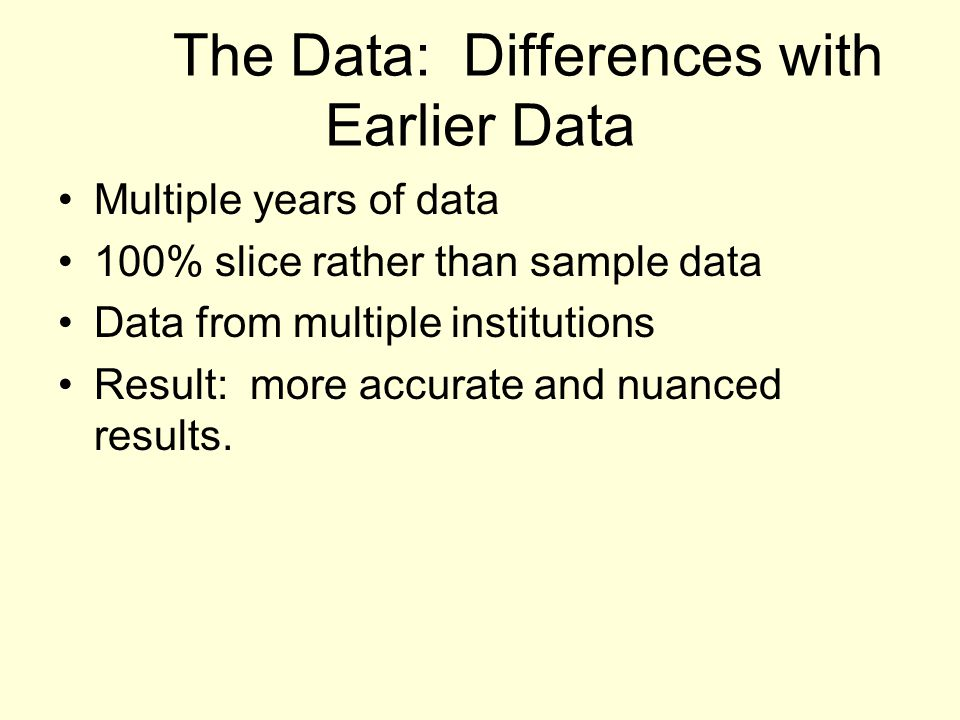The Data: Differences with Earlier Data Multiple years of data 100% slice rather than sample data Data from multiple institutions Result: more accurate and nuanced results.