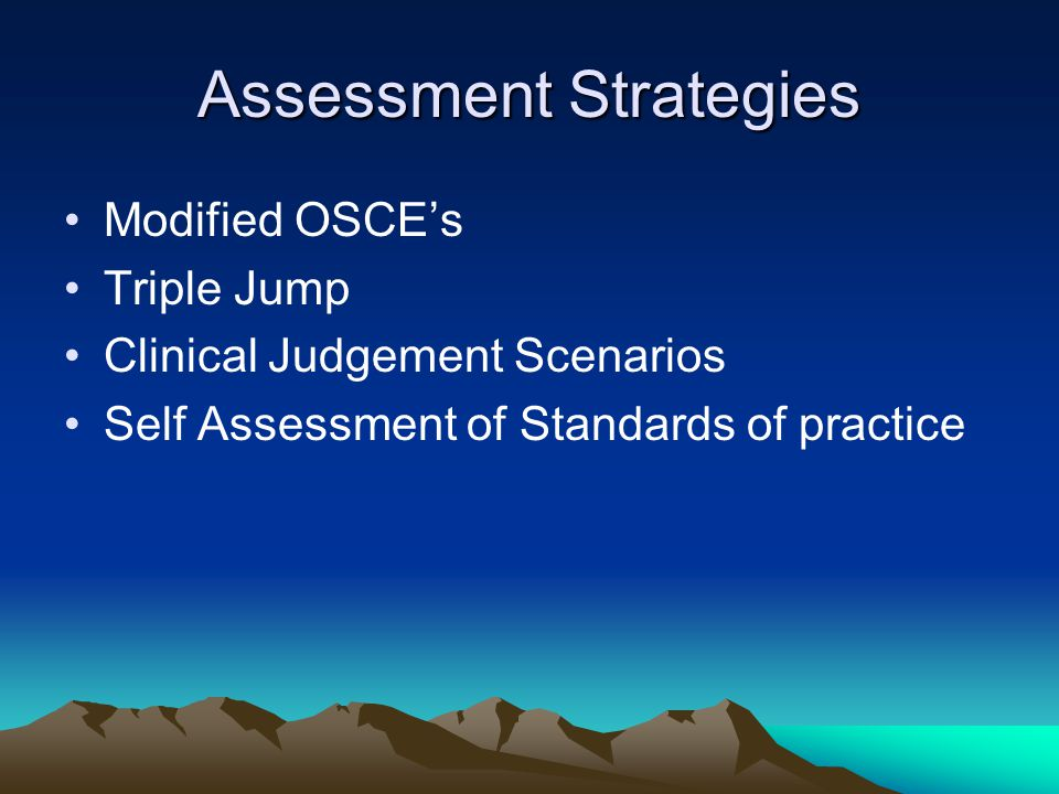 Assessment Strategies Modified OSCE's Triple Jump Clinical Judgement Scenarios Self Assessment of Standards of practice