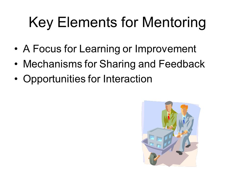 Key Elements for Mentoring A Focus for Learning or Improvement Mechanisms for Sharing and Feedback Opportunities for Interaction