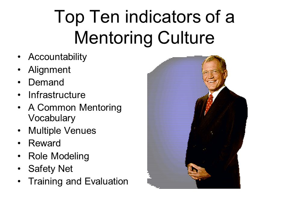 Top Ten indicators of a Mentoring Culture Accountability Alignment Demand Infrastructure A Common Mentoring Vocabulary Multiple Venues Reward Role Modeling Safety Net Training and Evaluation