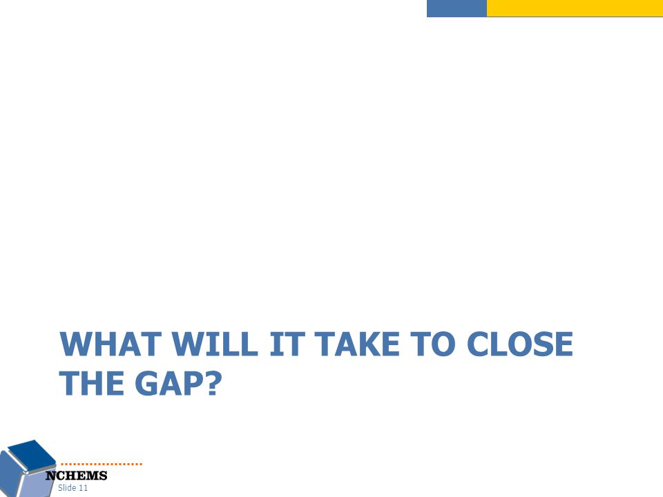 WHAT WILL IT TAKE TO CLOSE THE GAP? Slide 11