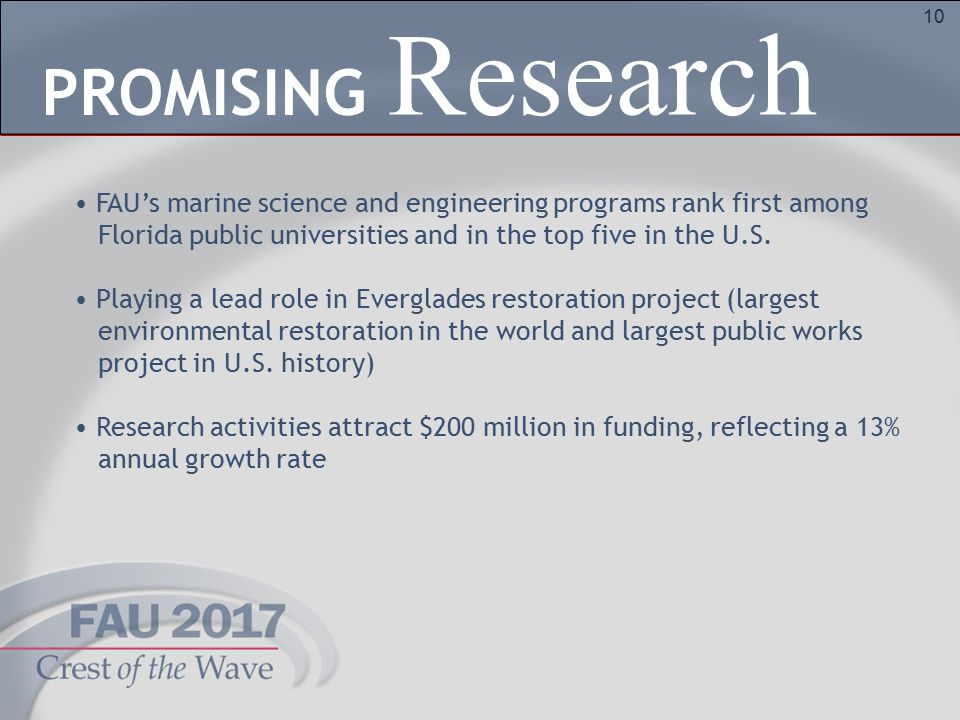 10 FAU's marine science and engineering programs rank first among Florida public universities and in the top five in the U.S. Playing a lead role in E
