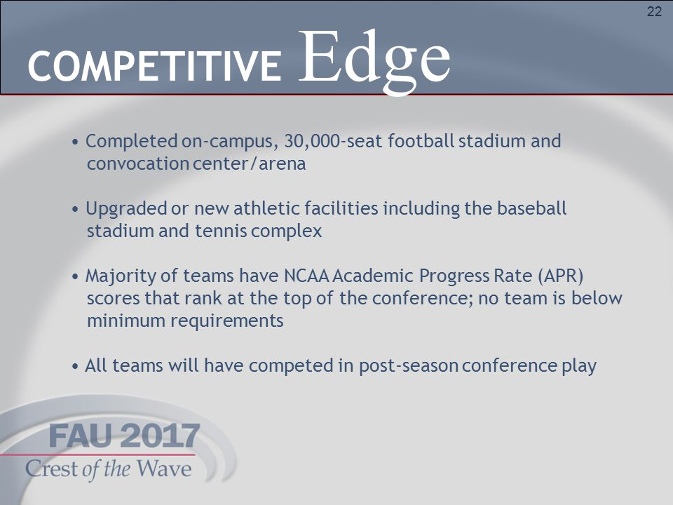 22 Completed on-campus, 30,000-seat football stadium and convocation center/arena Upgraded or new athletic facilities including the baseball stadium and tennis complex Majority of teams have NCAA Academic Progress Rate (APR) scores that rank at the top of the conference; no team is below minimum requirements All teams will have competed in post-season conference play Edge COMPETITIVE
