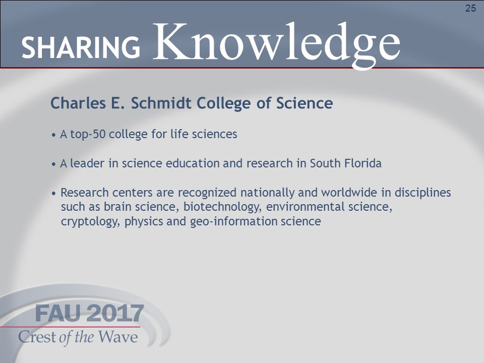 25 Charles E. Schmidt College of Science A top-50 college for life sciences A leader in science education and research in South Florida Research cente