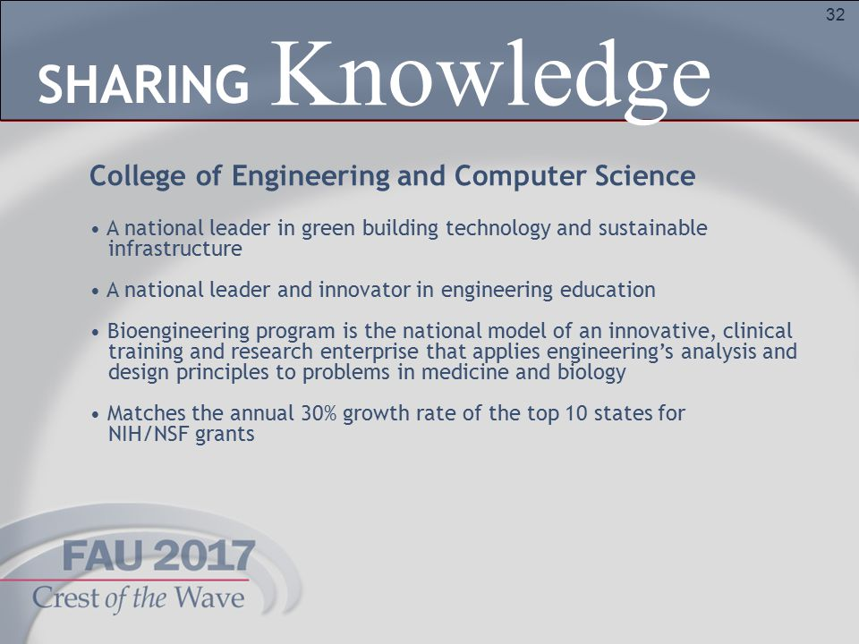 32 College of Engineering and Computer Science A national leader in green building technology and sustainable infrastructure A national leader and innovator in engineering education Bioengineering program is the national model of an innovative, clinical training and research enterprise that applies engineering's analysis and design principles to problems in medicine and biology Matches the annual 30% growth rate of the top 10 states for NIH/NSF grants Knowledge SHARING