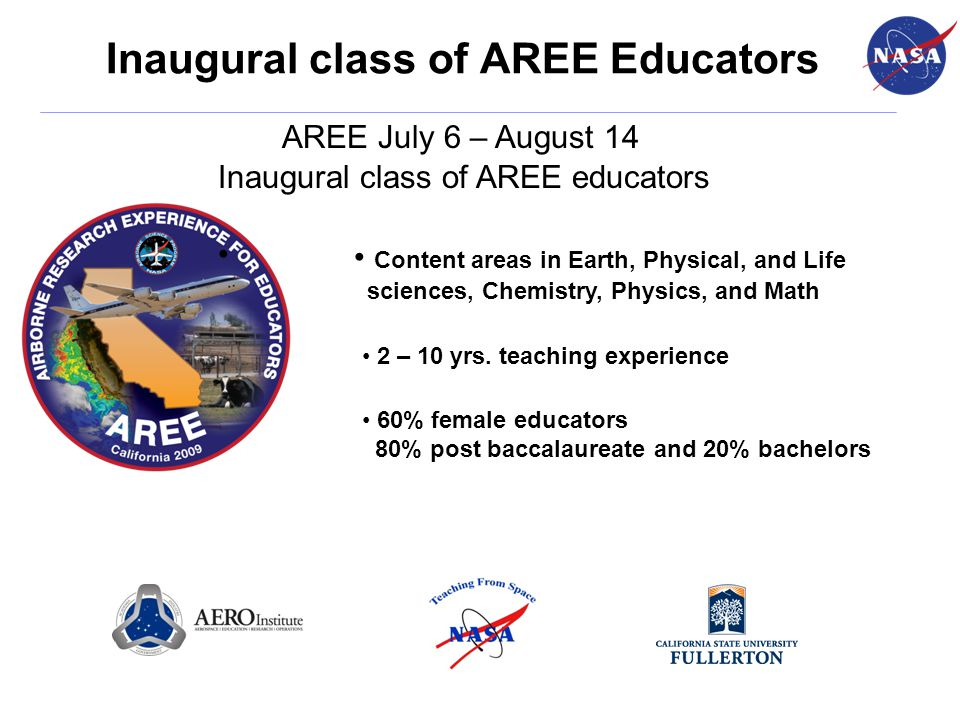 Inaugural class of AREE Educators AREE July 6 – August 14 60% female educators 80% post baccalaureate and 20% bachelors Inaugural class of AREE educat