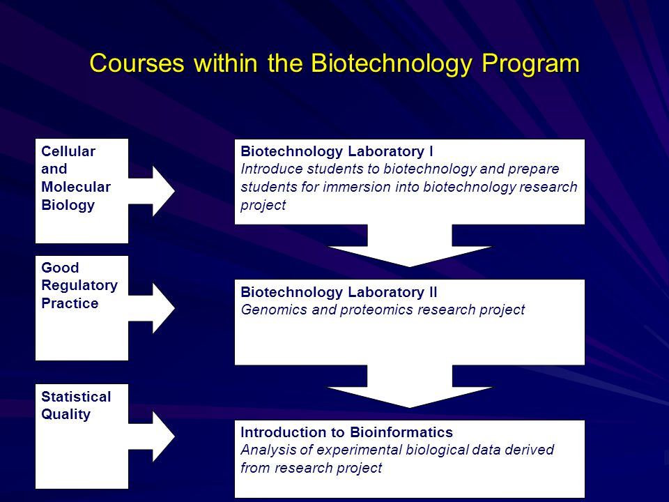 Courses within the Biotechnology Program Biotechnology Laboratory I Introduce students to biotechnology and prepare students for immersion into biotechnology research project Biotechnology Laboratory II Genomics and proteomics research project Introduction to Bioinformatics Analysis of experimental biological data derived from research project Cellular and Molecular Biology Good Regulatory Practice Statistical Quality