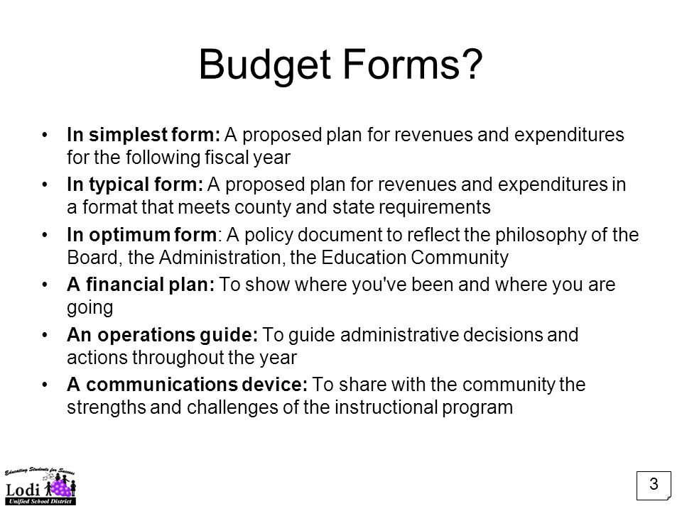 Budget Forms.