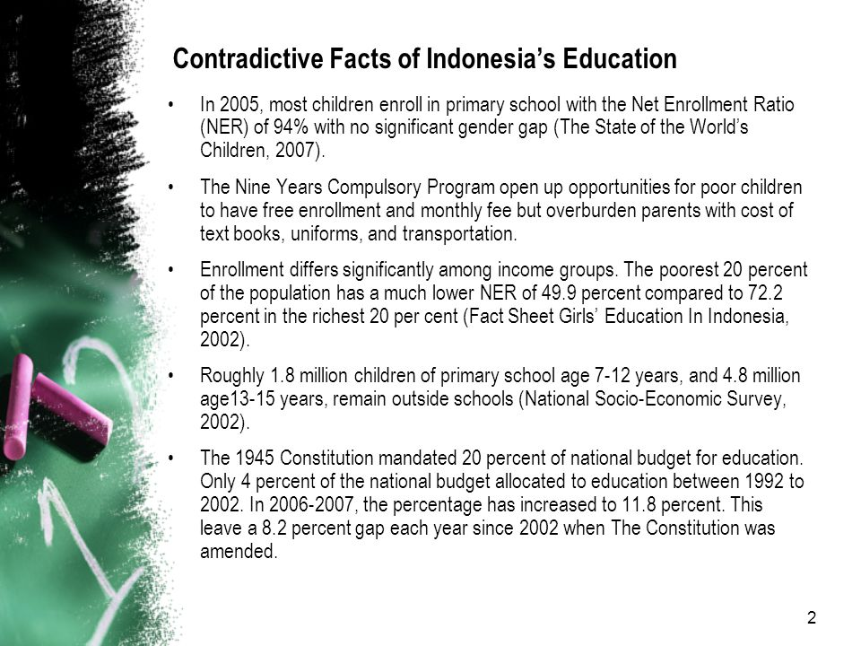 2 Contradictive Facts of Indonesia's Education In 2005, most children enroll in primary school with the Net Enrollment Ratio (NER) of 94% with no significant gender gap (The State of the World's Children, 2007).