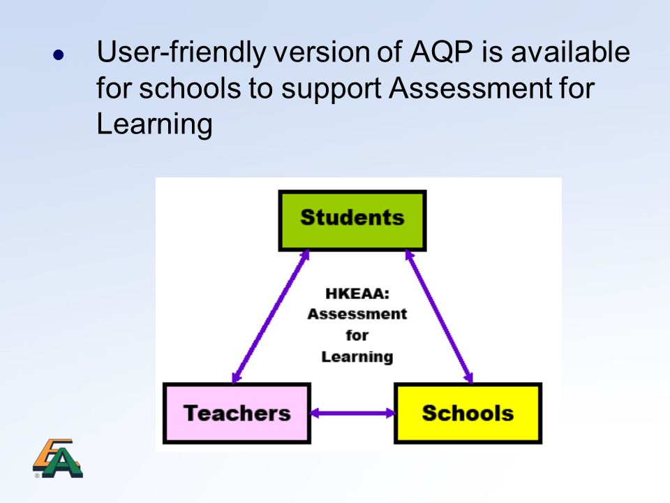 User-friendly version of AQP is available for schools to support Assessment for Learning