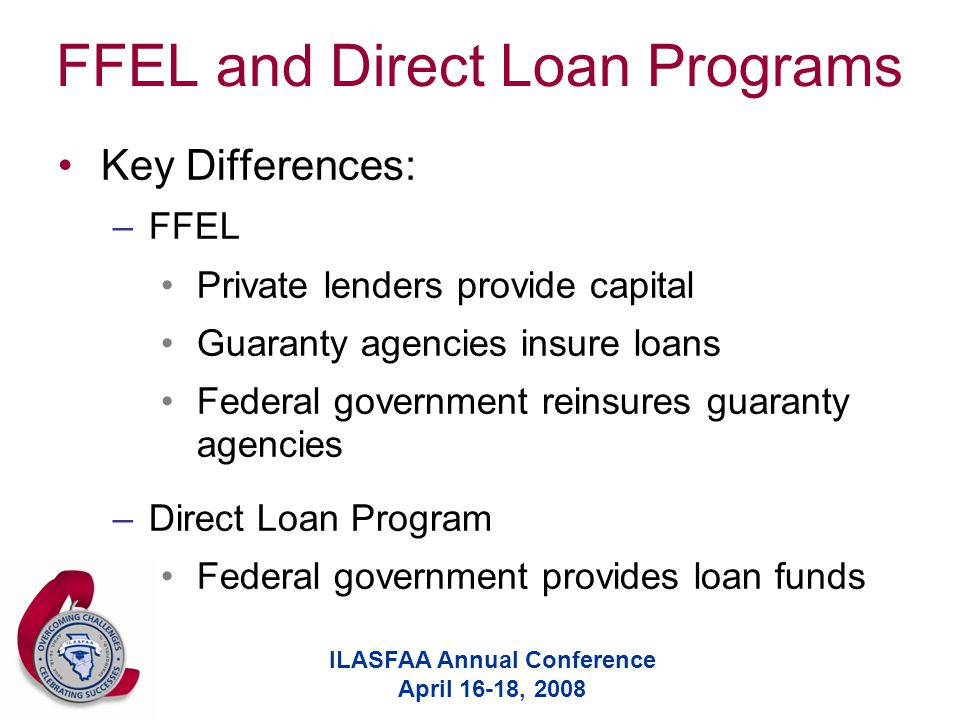 ILASFAA Annual Conference April 16-18, 2008 FFEL and Direct Loan Programs Key Differences: –FFEL Private lenders provide capital Guaranty agencies insure loans Federal government reinsures guaranty agencies –Direct Loan Program Federal government provides loan funds