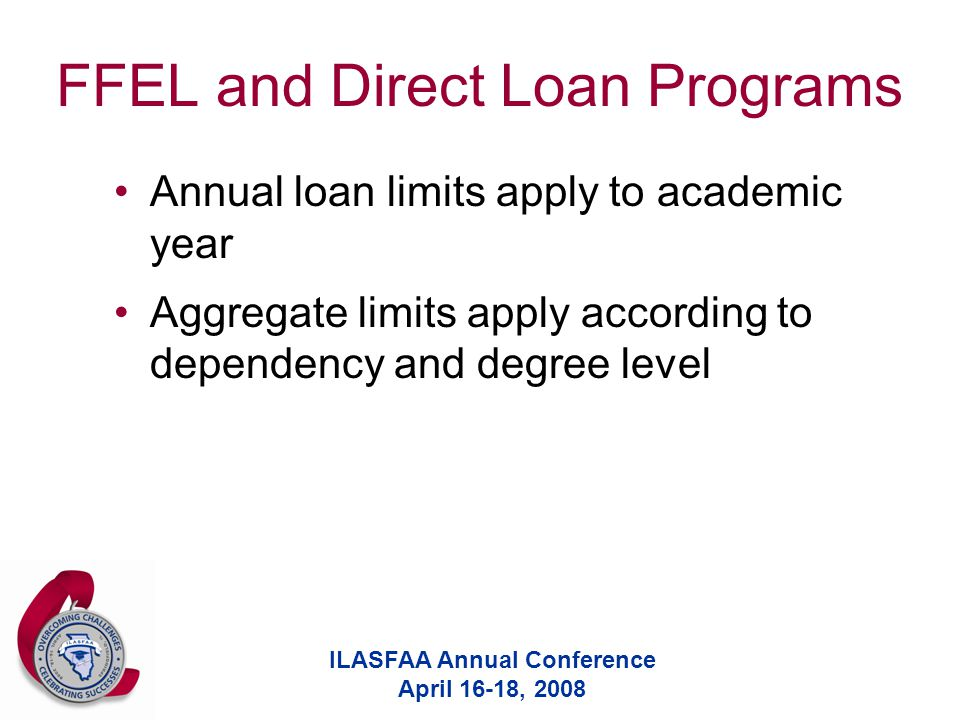 ILASFAA Annual Conference April 16-18, 2008 FFEL and Direct Loan Programs Annual loan limits apply to academic year Aggregate limits apply according t