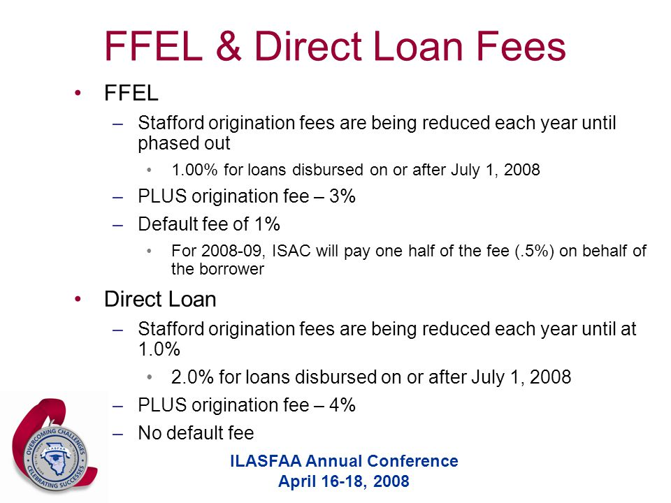 ILASFAA Annual Conference April 16-18, 2008 FFEL & Direct Loan Fees FFEL –Stafford origination fees are being reduced each year until phased out 1.00% for loans disbursed on or after July 1, 2008 –PLUS origination fee – 3% –Default fee of 1% For 2008-09, ISAC will pay one half of the fee (.5%) on behalf of the borrower Direct Loan –Stafford origination fees are being reduced each year until at 1.0% 2.0% for loans disbursed on or after July 1, 2008 –PLUS origination fee – 4% –No default fee