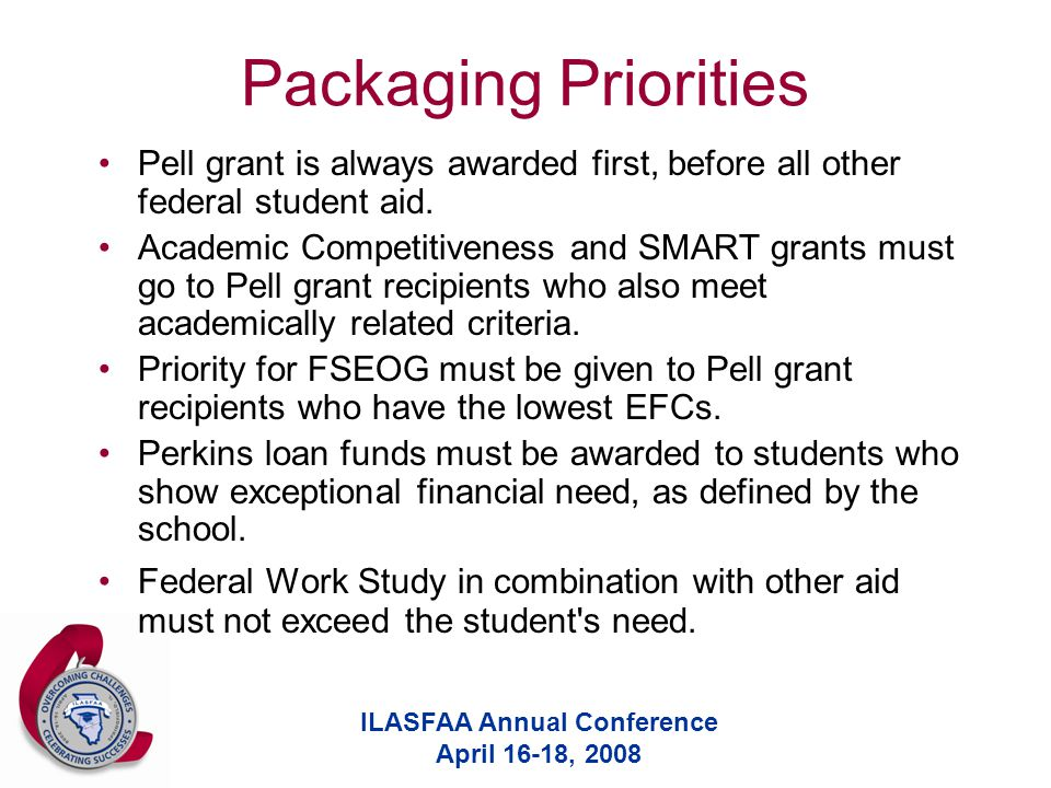ILASFAA Annual Conference April 16-18, 2008 Packaging Priorities Pell grant is always awarded first, before all other federal student aid.