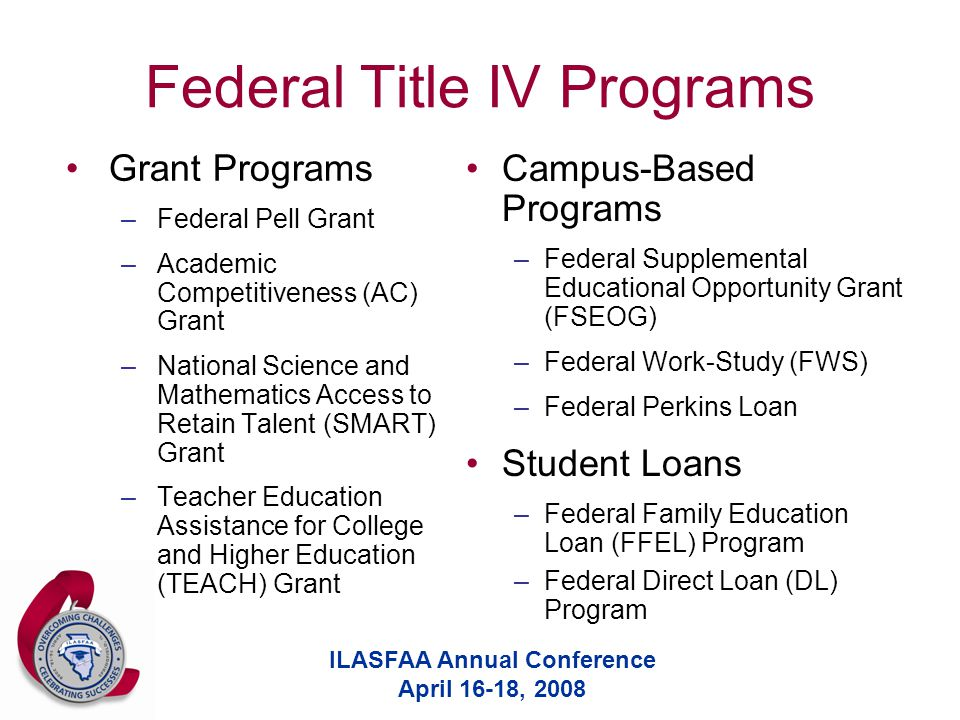 ILASFAA Annual Conference April 16-18, 2008 Federal Title IV Programs Grant Programs –Federal Pell Grant –Academic Competitiveness (AC) Grant –Nationa