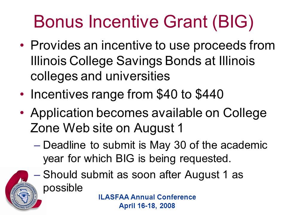 ILASFAA Annual Conference April 16-18, 2008 Bonus Incentive Grant (BIG) Provides an incentive to use proceeds from Illinois College Savings Bonds at Illinois colleges and universities Incentives range from $40 to $440 Application becomes available on College Zone Web site on August 1 –Deadline to submit is May 30 of the academic year for which BIG is being requested.