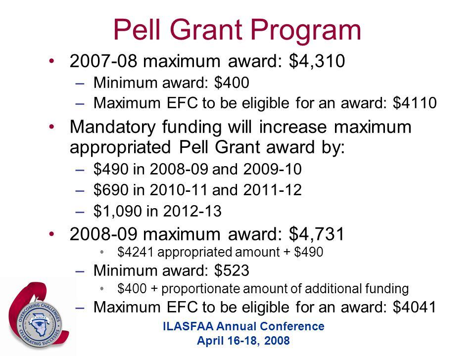 ILASFAA Annual Conference April 16-18, 2008 Pell Grant Program 2007-08 maximum award: $4,310 –Minimum award: $400 –Maximum EFC to be eligible for an award: $4110 Mandatory funding will increase maximum appropriated Pell Grant award by: –$490 in 2008-09 and 2009-10 –$690 in 2010-11 and 2011-12 –$1,090 in 2012-13 2008-09 maximum award: $4,731 $4241 appropriated amount + $490 –Minimum award: $523 $400 + proportionate amount of additional funding –Maximum EFC to be eligible for an award: $4041