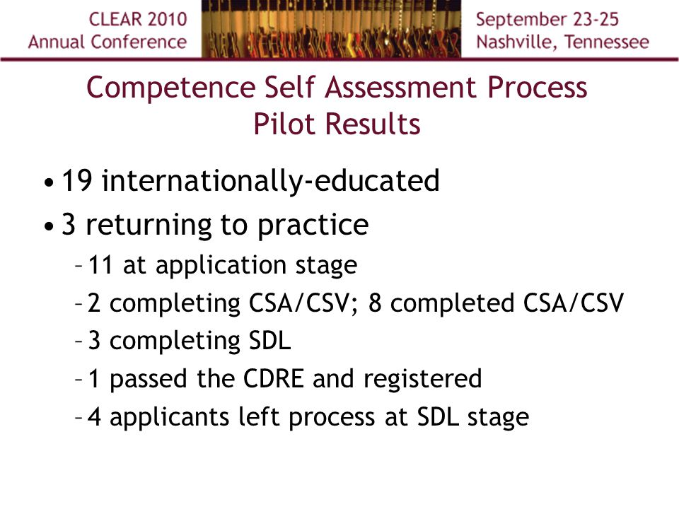 Competence Self Assessment Process Pilot Results 19 internationally-educated 3 returning to practice –11 at application stage –2 completing CSA/CSV; 8 completed CSA/CSV –3 completing SDL –1 passed the CDRE and registered –4 applicants left process at SDL stage