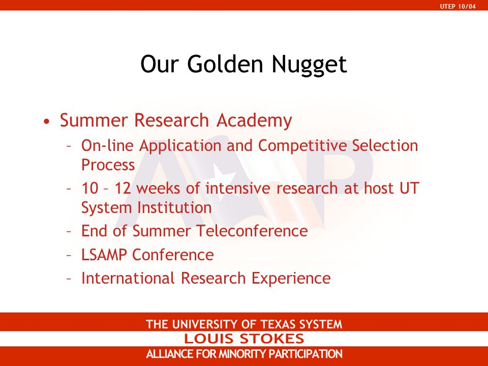 UTEP 10/04 Our Golden Nugget Summer Research Academy –On-line Application and Competitive Selection Process –10 – 12 weeks of intensive research at ho
